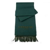 【COACH】雙面拚色羊毛圍巾(綠)  F86542 NPF