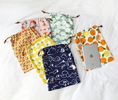 IPAD收納包系列 大號可以放IPAD11寸12.9寸棉布收納袋保護套布藝抽線束口袋 好樂匯