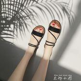 外出涼拖鞋女夏時尚外穿2017新款室外韓版平底百搭兩穿鞋露趾涼鞋  米娜小鋪