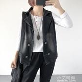 秋裝新款韓版寬鬆大碼女裝做舊西裝領牛仔馬甲開衫短外套女上衣潮【小艾新品】