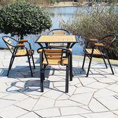 桌椅 戶外桌椅組合庭院室外防腐木桌椅簡約休閒現代漫咖啡廳奶茶店桌椅 igo城市玩家
