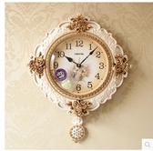 小鄧子美式複古鐘錶歐式掛鐘客廳靜音家用大氣掛錶創意壁鐘臥室豪華時鐘(18寸)