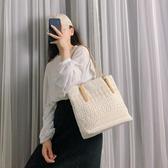 托特包 單肩包包女2019夏季新款韓版托特女包大容量手提包百搭蕾絲帆布包 滿天星