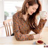 《AB8801》滿版豹紋印花開襟雪紡襯衫 OrangeBear