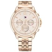 【台南 時代鐘錶 Tommy Hilfiger】1782224 日期星期顯示 數字 三眼時髦 鋼錶帶女錶 38mm 玫瑰金