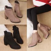 短靴 粗跟女歐洲站時尚尖頭短筒靴子女百搭高跟及裸靴