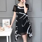 大尺碼女裝新品新款印花雪紡洋裝加肥加大寬鬆短袖裙子潮(L-5XL)2色