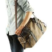 休閒單肩包帆布包男包正韓男士斜挎學生包書包背包旅行包 一件免運