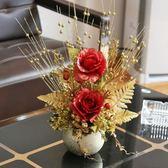 復古迷你歐式陶瓷花瓶餐桌茶幾裝飾擺設仿真假花藝盆栽擺花套裝 【快速出貨八五折鉅惠】