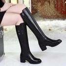 長靴 溫州長靴女過膝冬季新款粗跟加絨高筒靴高跟長筒靴子女直筒靴 阿薩布魯