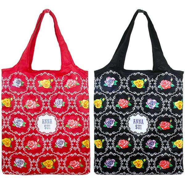 【岡山真愛香水化妝品批發館】安娜蘇 ANNA SUI 華麗薔薇購物袋/包 紅/黑