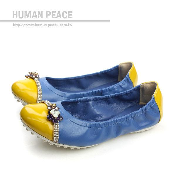 HUMAN PEACE 皮革 蝴蝶結 舒適 好穿脫 鬆緊設計 戶外休閒鞋 藍色 女鞋 no145