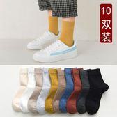襪子女中筒襪黑色棉襪純色韓國秋冬季長襪薄款中腰韓版學院風