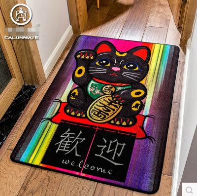 日式卡通可愛招財貓入戶進門玄關門廳過道地毯門墊短毛地墊