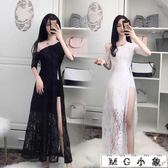 夜店長裙-性感開叉修身顯瘦蕾絲連身裙
