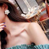 超仙白色花朵珍珠耳環女韓國氣質甜美簡約耳釘大氣誇張耳飾配飾品 薔薇時尚