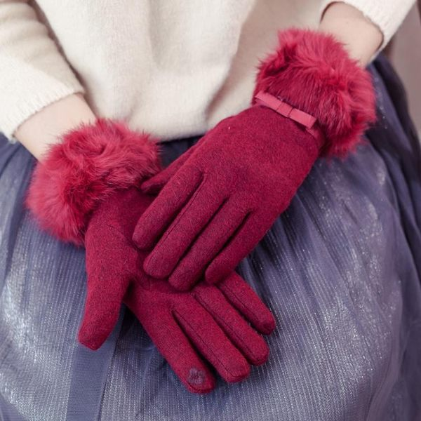 兔毛口韓版女顯瘦休閒雙層加厚保暖觸屏羊毛手套女優家小鋪優家小鋪