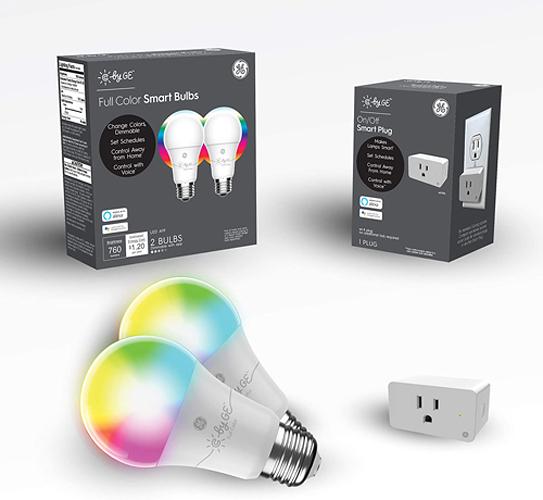 智能燈泡 C by GE Smart LED Bulbs + Smart Plug Bundle (2 A19 RGB Light Bulbs + Smart Plug),