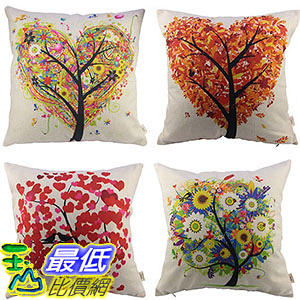 [106美國直購] HOSL B01CA87NUO P71 4-Pack Cotton Linen Sofa Home Decor Design Throw Pillow 17.5 Inch 抱枕