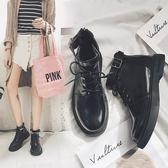 短靴 新款韓版平底短靴英倫風學生馬丁靴厚底機車靴chic女靴子 『夢娜麗莎精品館』