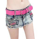 短裙 低腰包臀裙破洞毛邊牛仔褲裙