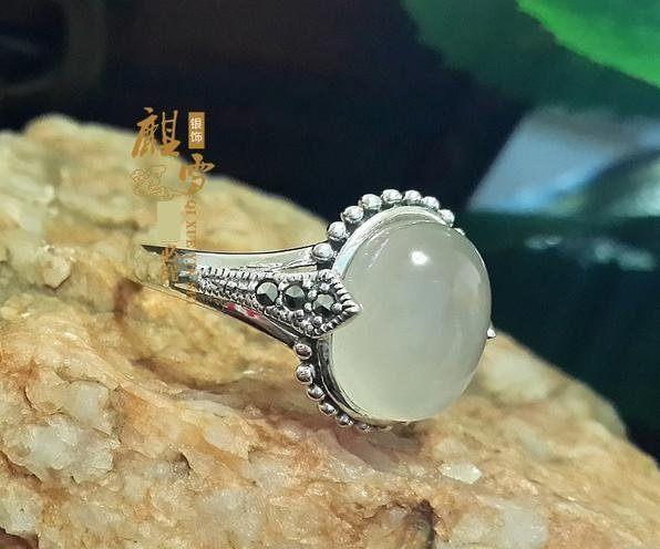 銀飾品手工泰銀 白玉髓 綠瑪瑙複古女款戒指指環