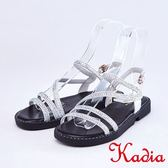 kadia.真皮閃亮鑽飾細條帶涼鞋(9122-05白色)