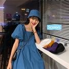 2020新款寬鬆韓版泡泡袖連身裙方領藍色長裙子女夏季溫柔風娃娃裙 潮人