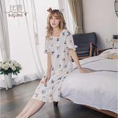 比影2019新款睡衣女夏睡裙女夏純棉韓版短袖清新可愛可外穿居家服