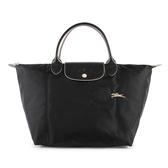 Longchamp 1623 LE PLIAGE 奔馬刺繡短提把中型尼龍摺疊水餃包(黑色)480207