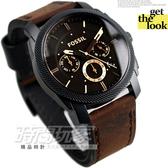 FS4656 FOSSIL 三眼錶 IP黑電鍍 噴砂處理 褐色鏡面 黑面 咖啡色皮帶 42mm 男錶