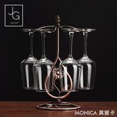 創意紅酒架歐式葡萄酒架子酒杯紅酒杯架擺件酒瓶架倒掛高腳杯架 莫妮卡小屋