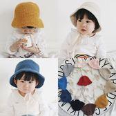 秋冬兒童針織毛線帽子韓國男女寶寶0-2歲保暖蕾絲系帶盆帽 薇薇