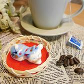【貓粉選物】揮揮手薄荷貓療癒小擺飾筷架紙鎮大吉藍色招財貓高2CM 桌上開運擺飾