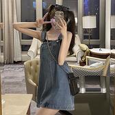 夏季新款可愛日系小個子減齡牛仔背帶裙顯瘦氣質連衣裙女神范