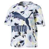 PUMA 女裝 上衣 短袖 休閒 慢跑 經典 基本款 藍色LOGO 印花【運動世界】57628967