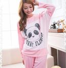 可愛Panda 長袖兩件式居家服(天使粉)