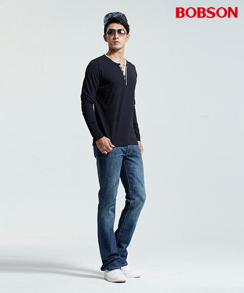 BOBSON 男款合身仿兩件長袖黑色上衣(35009-88)