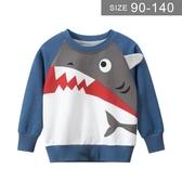 男童長袖T恤。ROUROU童裝。春秋男童中小童歐美鯊魚印花長袖T恤 上衣 0131-547