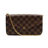 【台中米蘭站】全新品 Louis Vuitton 棋盤格鍊帶斜背包 (N63032-咖)