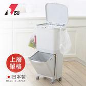 【日本RISU】雙層移動式分類垃圾桶(上層單格)-45L (H&H 清潔 居家 廚房 廚餘 整理 塑膠)