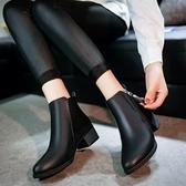 裸靴 秋冬新款中跟尖頭女鞋短靴百搭女靴子英倫馬丁靴保暖棉靴裸靴