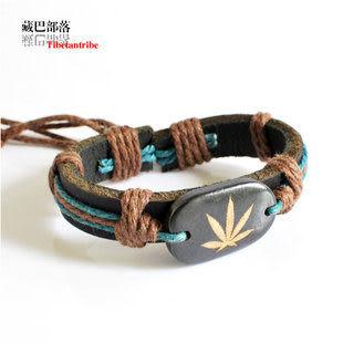 犛牛骨藏飾風格繩編單層牛皮手鏈