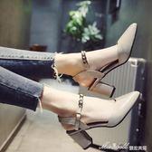 現貨出清尖頭涼鞋女春 新款韓版百搭粗跟包頭高跟鞋一字帶女士羅馬鞋子  蜜拉貝爾