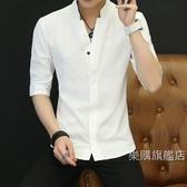 唐裝男士中國風棉質短袖襯衣正韓修身立領七分袖寸衫冬季半袖復古唐裝M-4XL4色