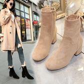 中筒靴   2018秋冬季新款粗跟絨面側拉鏈高跟馬丁靴彈力襪靴