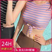 梨卡★現貨 - 復古甜美[高腰遮肚+顯瘦]保守款條紋二件式比基尼兩截式泳裝泳衣CR458