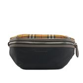 【BURBERRY】中型Vintage格紋拼黑色帆布腰包 8005416 A1189