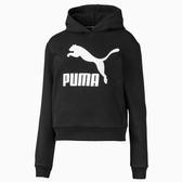 PUMA Classics T7 童裝 長袖 連帽 休閒 經典 LOGO 棉質 黑【運動世界】58028801
