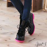 Ann'S可愛俐落-綁帶馬汀雨靴 螢光桃